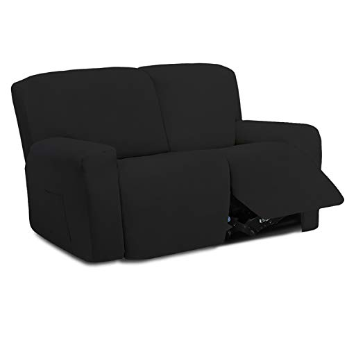 Easy-Going 6 Pieces Microfiber Stretch Sectional Recliner Sofa Slipcover Soft Fitted Fleece 2 Seats Couch Cover Washable Furniture Protector with Elasticity for Kids Pet( Recliner Loveseat, Black)
