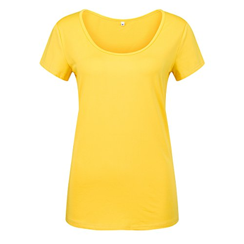 Women's Summer Tops Short Sleeve Scoop Neck Slim Fitted Casual Basic Tee Plain T Shirts Blouses Yell - http://coolthings.us
