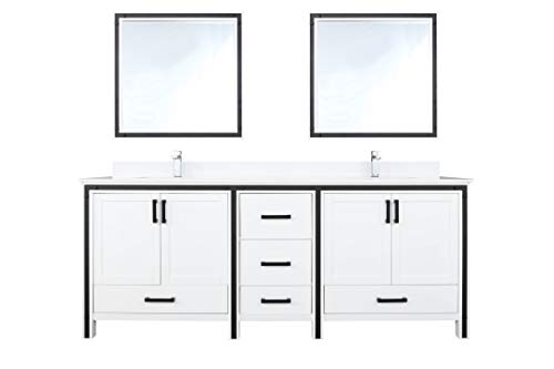 Why Should You Buy Ziva 80″ White Double Vanity, Cultured Marble Top, White Square Sink and 30″ Mirrors