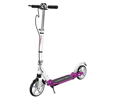 INVIDA Speedy One Kick-Racer Scooter Roller Kickscooter Funscooter Cityroller mit Handbremse 100% Aluminium (Weiss)