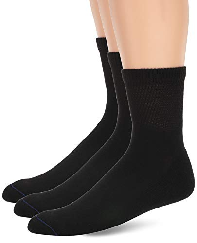 Dr. Scholl's Men's 4 Pack Big and Tall Diabetes and Circulatory Quarter Socks, black, Shoe Size: 13-15