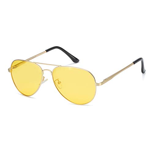 Myiaur Night Driving Glasses, HD Vision Yellow Glasses, for Fashion Men & Women - Polarized Lens Anti Glare (gold frame yellow night driving glasses)