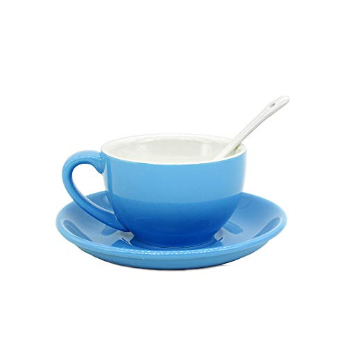Porcelain Cappuccino Cups with Saucers Porcelain Espresso Cups with Saucers Coffee Drinks Latte Cafe Mocha and Tea Blue