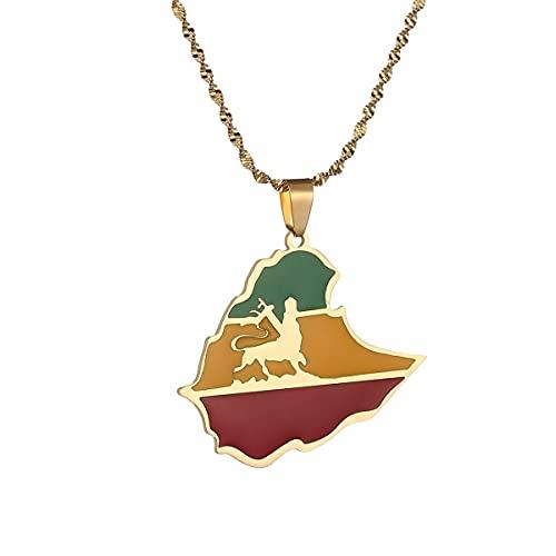 Kkoqmw Collar con Colgante de Mapa de León con Bandera etíope de Acero Inoxidable, joyería de Cadena de León de Etiopía para Hombres y Mujeres