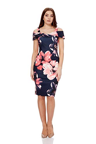 Roman Originals Women Floral Cold Shoulder Scuba Dress - Ladies Evening Special Occasion Party Formal Wedding Guest Mother of The Bride Groom Bodycon Shift Dress - Navy - Size 14