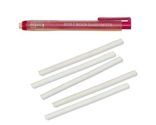 Koh I Noor–Goma de borrar y portagoma con forma de bolígrafo (12,5cm, 5recambios)–Rosa