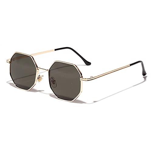 LUOXUEFEI Gafas De Sol Octágono Gafas De Sol Mujer Oro Negro Marrón Pequeñas Gafas De Sol Para Hombre