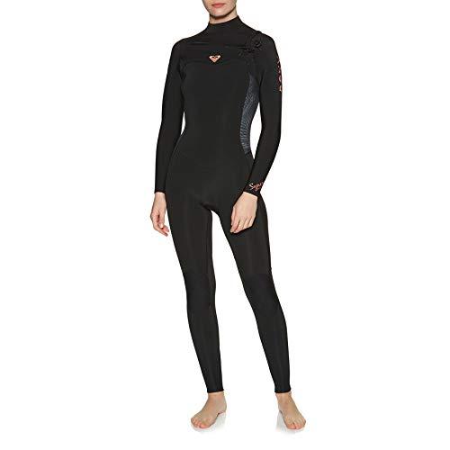 Roxy Womens Syncro 4/3mm Chest Zip Neoprenanzug mit Reißverschluss Schwarz Gunmetal - Thermisch warme Wärmeschicht-Schichten Leichter Stretch-Leichtgewichtler