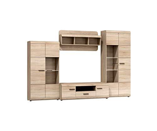 Furniture24 Wohnwand LINK, Anbauwand, Vitrine, Lowboard, Hängeregal, Vitrinenschrank, Fernsehentisch (Mit 3 pkt. LED Beleuchtung)