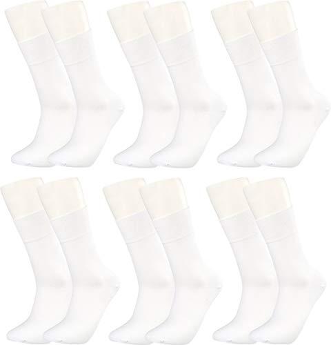 Vitasox 43034 Bambus Socken für Damen und Herren, atmungsaktive Bambussocken mit weichem Komfortb& ohne Gummi, Qualitäts Strümpfe gegen Schweiß ohne Naht an den Zehen, 6 Paar weiß 39-42
