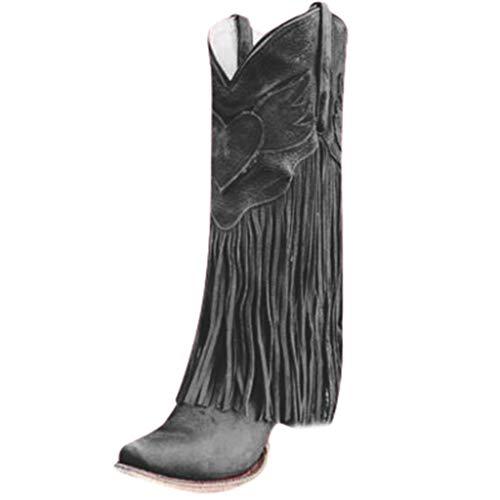 MINIKIMI Stiefeletten Fransen Damen Halbhohe Stiefel Mit Blockabsatz Ankle Boots Vintage Spitz Stiefel Zipper Gummistiefel Freizeitschuhe FüR Herbst Winter