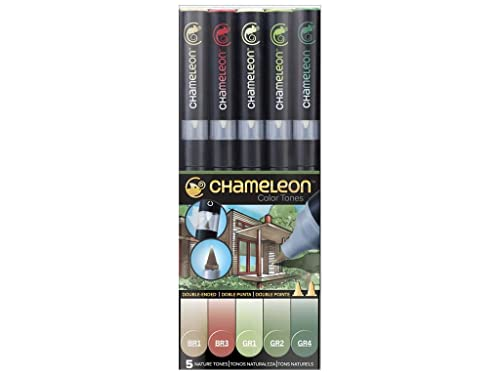 Chameleon Art Products - 5 rotuladores de alcohol permanentes; Tonos Naturaleza