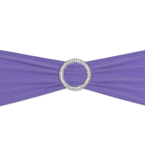 10/50/100PCS Spandex Chair Sashes Bows Elastic Chair Bands with Buckle Slider Stretch Sashes Bows for Wedding Party Event Ceremony Reception Banquet Decorations (Lavender, 10)