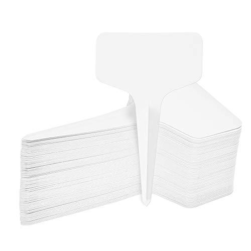 EKKONG 100 Piezas Etiquetas de Plantas, Planta Marcadores de Plástico en Forma de T Impermeables, Marcadores de Jardín Reutilizable Etiquetas para Semillas Hierbas Flores Vegetales 6 x 10 cm (Blanco)