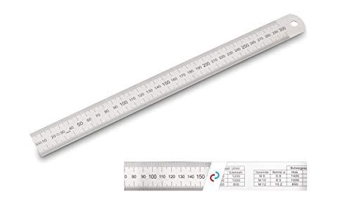 Falke Profi Stahlmaßstab Stahllineal biegsam EG-Prüfzeichen Genauigkeit II, 300 x 30 x 1,0 mm Bohrerdrehzahltabelle/Umrechnungstabelle von Inch/Cm