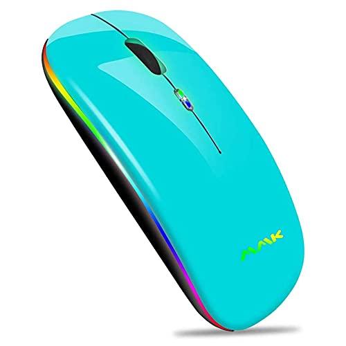 Kabellose Bluetooth Maus,schlanke Maus 2.4G tragbare optische USB-Funkmäuse, wiederaufladbare LED-Dual-Mode-Maus (Bluetooth 5.0 und 2.4G drahtlos) für Laptop,PC,iOS, Android,Windows (Himmelblau)