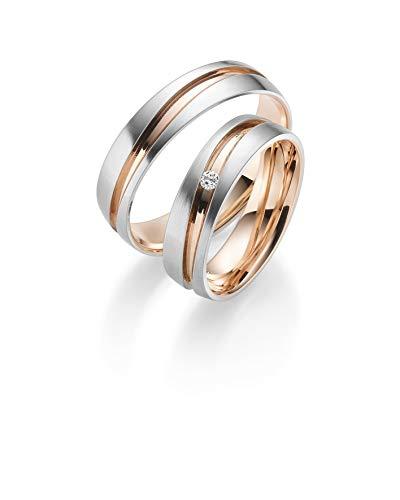 333 GOLD Trauringe in Bicolour inkl. Gravur + Stein, Paarpreis von Rubin Juwelier