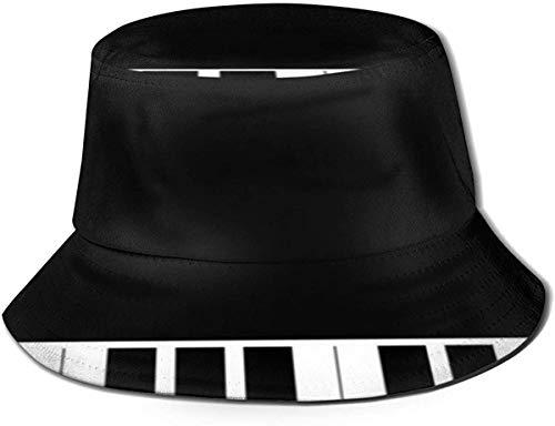 Sombrero de cubo transpirable con parte superior plana, unisex, música, color negro, blanco y negro, estampado de piano