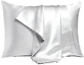Bonlino Satin Pillowcase for Hair and Skin, 2 Pack Queen Size (20x30 Inches) Pillow Case, Moisture Wicking Wrinkle Resistance Satin Pillowcases with Envelop Closure, Silver Grey
