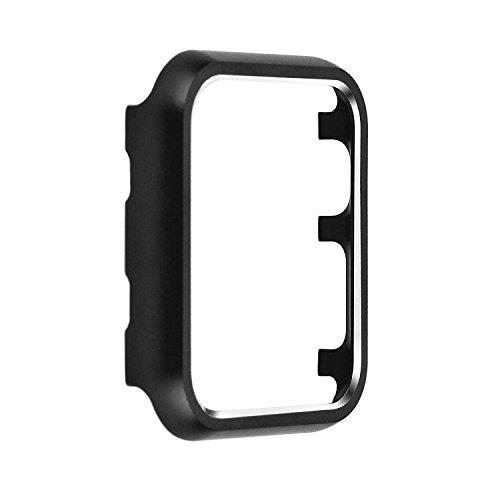 Angeland Metallschutzhülle für Smartwatch, matte Oberfläche, Aluminiumlegierung, Rahmen kompatibel mit Apple Watch Serie 3, Serie 2, Serie 1, 38 mm, schwarz