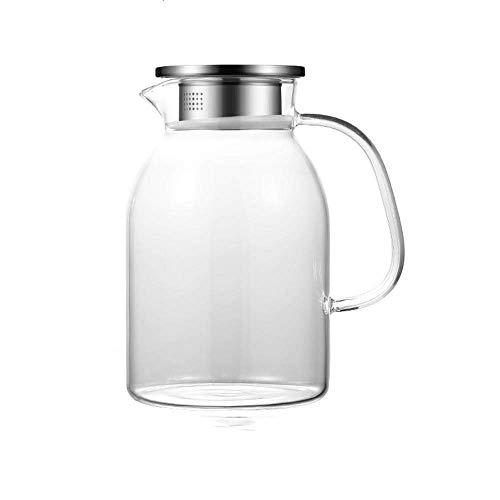 HJYSQX Jarra de 1.8 L/Litro, Jarra de Jugo con Tapa, Jarra de Botella de Agua Sin Plástico, Jarra de Vidrio, Jarra de Agua - Sin BPA, Jarras de Vidrio y Jarra de Agua, Vertedor de Jarra de Té (OL