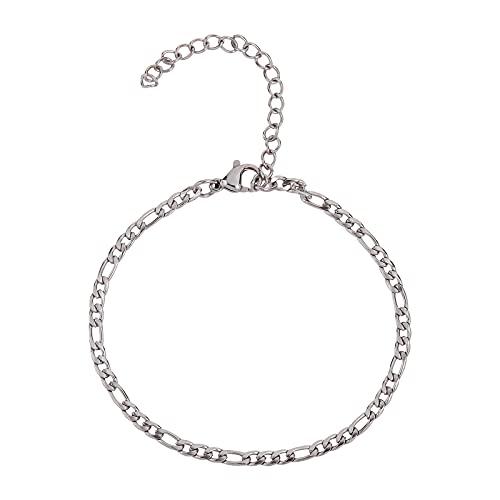 Airssory Cadena de eslabones cubanos ampliada de acero inoxidable 304 Figaro extensible con cierres de pinza de langosta y cadena extensora, para hacer joyas, bricolaje