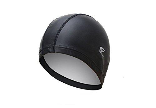 スイムキャップ ゆったり PEIUPE 防水 通気 PU コーティング 4カラー(ブラック)