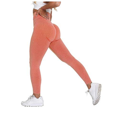 Liably Damen Fitness Hose, eng anliegende Stretch Hip-Up Yoga Hose, Sporthose für Frauen, Lange Leggings, undurchsichtig, Kompressionshose Orange Medium