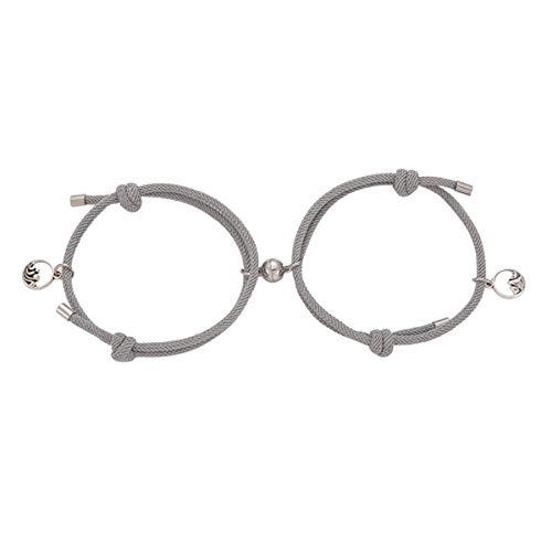 Pulsera de pareja para mujer, amor, amistad, cuerda trenzada, brazalete de distancia, pulseras magnéticas (Gris)