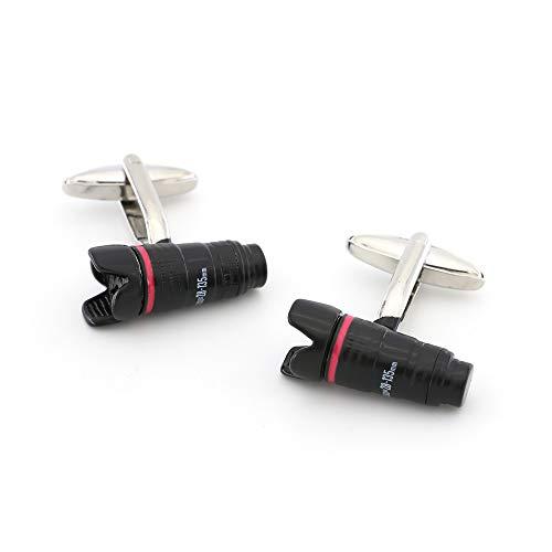 XpFac Store Einzelne Linsen Reflex Design Kamera Manschettenknöpfe für Männer Qualität Messing Material Schwarz Farbe Manschettenknöpfe
