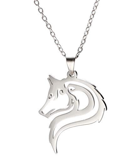 VASSAGO Collar con colgante de cabeza de lobo de acero inoxidable con diseño hueco de cabeza de lobo y dije de animales salvajes, cadena de plata para hombres, mujeres y