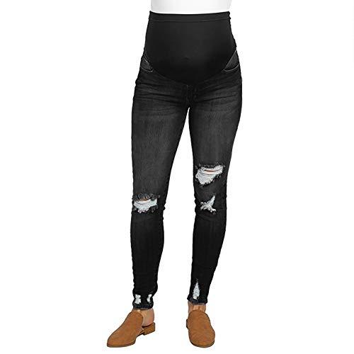 Jeans Premaman Donna,TTMall Jeans Premaman Pantaloni Strappati Elasticizzati Jeans Primavera Estate Pantaloni Premaman Pantaloni da Leggings con maternità Waistband (Black,M)