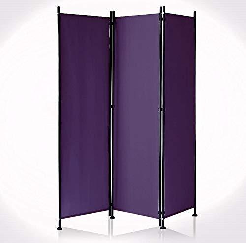 IMC Paravent 3-teilig violett Raumteiler Trennwand Sichtschutz, faltbar/flexibel verstellbar, wetterfester Polyester-Stoff, Schwarze Metallstangen