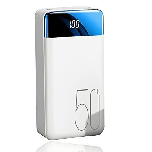 BEILA Power Bank Batería Externa Movil 50000mAh, Cargador Portátil de Carga Rápida Power Bank USB C para iPhone 11/12 Pro MAX, i-Pad, Compatible con Samsung, Huawei y más,Blanco