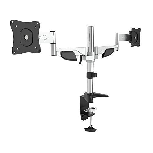 RICOO TS5511, Dual Monitor Tisch-Halterung, 2 Monitore, Schwenkbar, Neigbar 13-27 Zoll (33-69cm), Bildschirm-Ständer, Stand-Fuß, VESA 100x100, Silber
