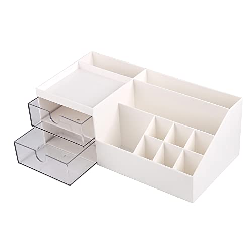 MeYuxg Kosmetikorganiser, Make-up Organizer mit Schubladen, Make-up Lagerung Kosmetische Schminktisch Organizer Box mit Schubladen für Kommode, Schreibtisch,Dient zum Speichern Kleiner Objekte(Weiß)