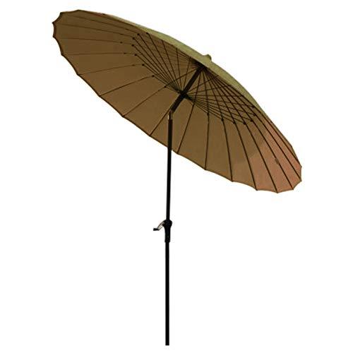 Sombrilla Jardin Sombrilla de Jardín de 2,5 M, Paraguas de Patio Al Aire Libre de 24 Costillas con Manivela y Botón de Inclinación, Resistente y Resistente Al Viento (Caqui)