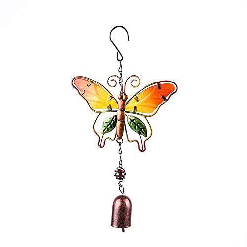 Teayason - Campanello a vento, da giardino, in metallo colorato, da appendere, decorazione da appendere a forma di farfalla, colibrì e libellula, per esterni, interni, casa, farfalla