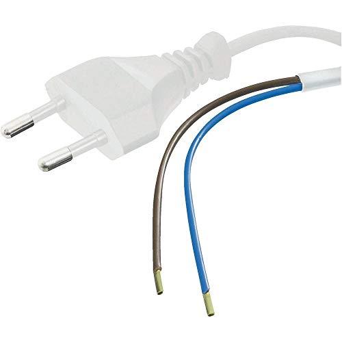 PremiumCord Stromkabel Eurostecker zu offenem Kabelende 3m, Netzkabel, 2 Kabelenden freigelegt, Farbe weiß
