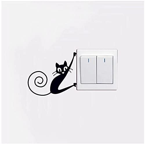 Pegatinas de pared BY WYZDGTD Lindo Pequeño Animal Gato Interruptor Dormitorio Sala De Estar Interruptor Mural Calcomanías Pegatinas De Pvc 2 Piezas 11X12 Cm