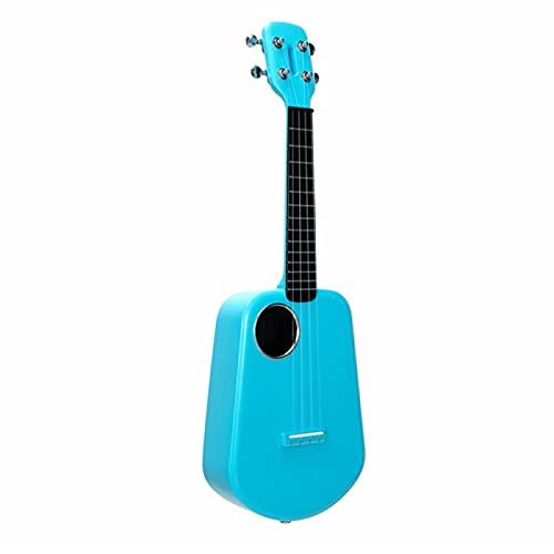 KEPOHK 2 LED ukelele inteligente 4 cuerdas 23 pulgadas, control de aplicación USB ABS diapasón guitarra eléctrica acústica música 23 pulgadas verde