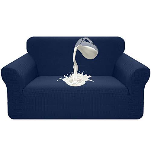 Luxurlife - Funda elástica impermeable para sofá de 2 plazas, diseño elegante, antideslizante, resistente a los arañazos, con espuma antideslizante (2 plazas, color azul oscuro)