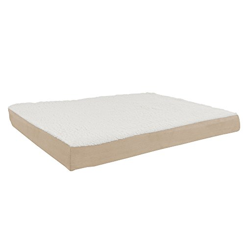 """PETMAKER Orthopedic Sherpa Top Pet Bed with Memory Foam and Removable Cover Tan, 36"""" X 27"""" (80-PET5090T)"""