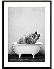 MONLEYTA Blanco y Negro Animales Pared Arte Imagen Jirafa Elefante Lienzo Pintura Moderna L
