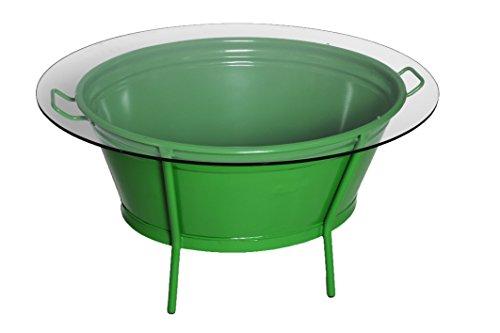 Design Tisch Wannentisch ZINK TOP Metalltisch mit Glasplatte