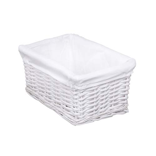 woodluv White Wicker Storage Basket with White Cotton Lining (Small)