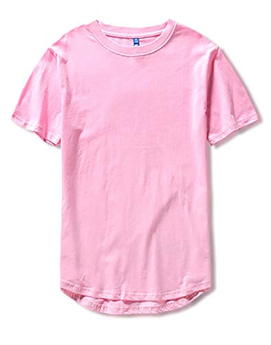 [Make 2 Be] スタイリッシュ 半袖 無地 ラウンドカット Tシャツ 前後アシメ カットソー メンズ レディース トップス 丈長 プチ ロング丈 MF93 (42.Pink_L)