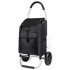 mfavour grattoir d'épicerie, scooter rabattable glissement/traction, caddie 2 roues avec poche d'Oxford amovible, 45 kg, 45 l, noir