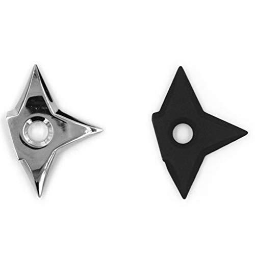 Imán de Nevera de Moda Samurai Shuriken Ninja Dart Triangular Estrella de Cinco Puntas Etiqueta de Mensaje de refrigerador Juguete para niños (Plata)