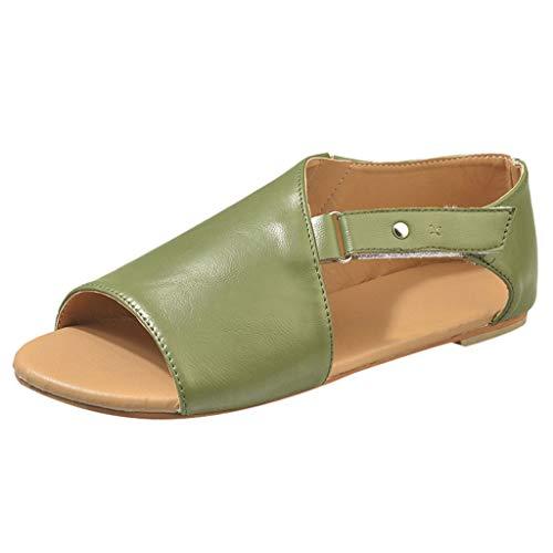 iYmitz Damen Mode Sommer Römersandalen Flach Sandalen Frauen Bohemian Sandals Sommerschuhe PU Strand Schuhe Zehentrenner(Grün,EU-43)